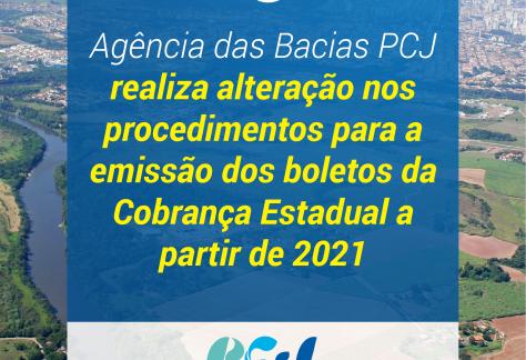 Agência das Bacias PCJ realiza alteração nos procedimentos para a emissão dos boletos da Cobrança Estadual a partir de 2021